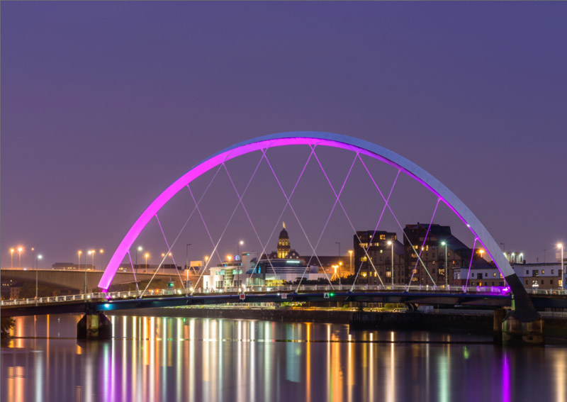 glasgow clyde arc at night